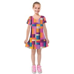 Abstract Background Geometry Blocks Kids  Short Sleeve Velvet Dress by Simbadda