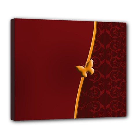 Greeting Card Invitation Red Deluxe Canvas 24  X 20   by Simbadda