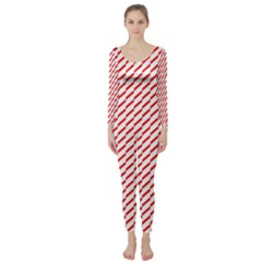 Pattern Red White Background Long Sleeve Catsuit by Simbadda