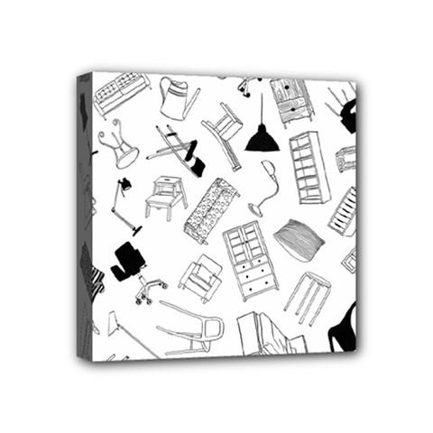 Furniture Black Decor Pattern Mini Canvas 4  X 4  by Simbadda
