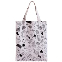 Furniture Black Decor Pattern Zipper Classic Tote Bag by Simbadda