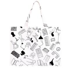 Furniture Black Decor Pattern Zipper Large Tote Bag by Simbadda