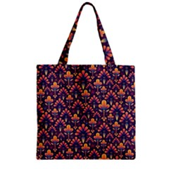 Abstract Background Floral Pattern Zipper Grocery Tote Bag by Simbadda