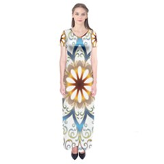 Prismatic Flower Floral Star Gold Green Purple Orange Short Sleeve Maxi Dress by Alisyart