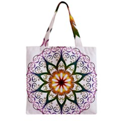 Prismatic Flower Floral Star Gold Green Purple Grocery Tote Bag by Alisyart