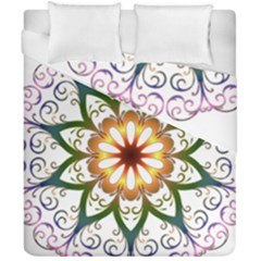 Prismatic Flower Floral Star Gold Green Purple Duvet Cover Double Side (california King Size) by Alisyart