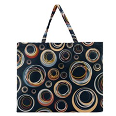 Seamless Cubes Texture Circle Black Orange Red Color Rainbow Zipper Large Tote Bag by Alisyart