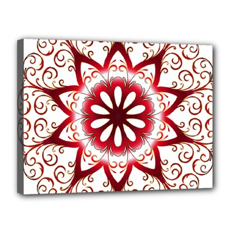 Prismatic Flower Floral Star Gold Red Orange Canvas 16  X 12  by Alisyart