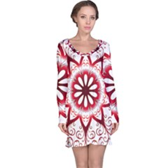 Prismatic Flower Floral Star Gold Red Orange Long Sleeve Nightdress by Alisyart
