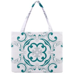 Vintage Floral Star Flower Blue Mini Tote Bag by Alisyart