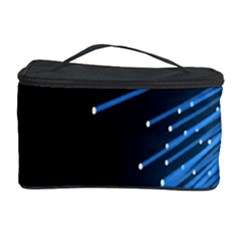 Abstract Light Rays Stripes Lines Black Blue Cosmetic Storage Case by Alisyart