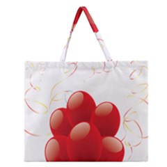 Balloon Partty Red Zipper Large Tote Bag by Alisyart
