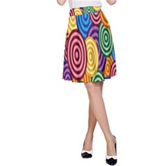 Circles Color Yellow Purple Blu Pink Orange Illusion A Line Skirt by Alisyart