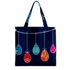 Easter Egg Balloon Pink Blue Red Orange Zipper Grocery Tote Bag by Alisyart