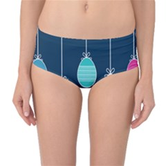 Easter Egg Balloon Pink Blue Red Orange Mid Waist Bikini Bottoms by Alisyart