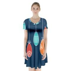 Easter Egg Balloon Pink Blue Red Orange Short Sleeve V Neck Flare Dress by Alisyart