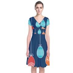 Easter Egg Balloon Pink Blue Red Orange Short Sleeve Front Wrap Dress by Alisyart