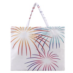 Fireworks Orange Blue Red Pink Purple Zipper Large Tote Bag by Alisyart