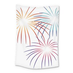 Fireworks Orange Blue Red Pink Purple Small Tapestry by Alisyart
