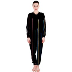 Falling Light Lines Color Pink Blue Yellow OnePiece Jumpsuit (Ladies)