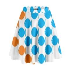 Fish Arrow Orange Blue High Waist Skirt by Alisyart