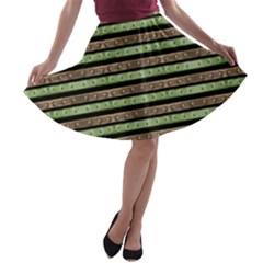 Camo Stripes Print A Line Skater Skirt by dflcprintsclothing