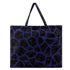 Skin1 Black Marble & Blue Leather (r) Zipper Large Tote Bag by trendistuff