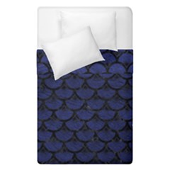Scales3 Black Marble & Blue Leather (r) Duvet Cover Double Side (single Size) by trendistuff