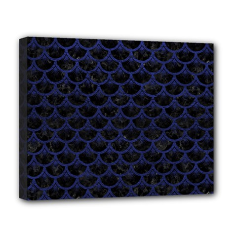 Scales3 Black Marble & Blue Leather Deluxe Canvas 20  X 16  (stretched) by trendistuff