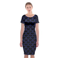Scales3 Black Marble & Blue Leather Classic Short Sleeve Midi Dress by trendistuff