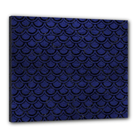 Scales2 Black Marble & Blue Leather (r) Canvas 24  X 20  (stretched) by trendistuff