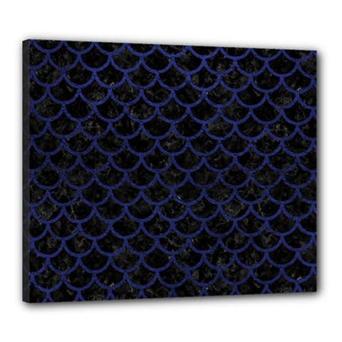 Scales1 Black Marble & Blue Leather Canvas 24  X 20  (stretched) by trendistuff