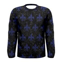 Royal1 Black Marble & Blue Leather (r) Men s Long Sleeve Tee by trendistuff
