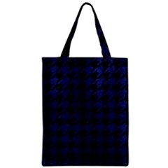 Houndstooth1 Black Marble & Blue Leather Zipper Classic Tote Bag by trendistuff