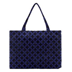 Circles3 Black Marble & Blue Leather Medium Tote Bag by trendistuff