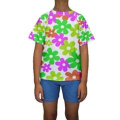 Flowers Floral Sunflower Rainbow Color Pink Orange Green Yellow Kids  Short Sleeve Swimwear