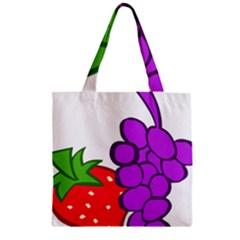 Fruit Grapes Strawberries Red Green Purple Zipper Grocery Tote Bag by Alisyart