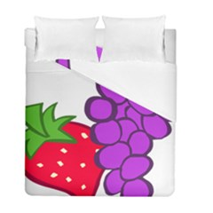 Fruit Grapes Strawberries Red Green Purple Duvet Cover Double Side (Full/ Double Size) by Alisyart