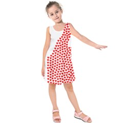 Heart Love Valentines Day Red Sign Kids  Sleeveless Dress by Alisyart
