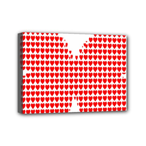 Hearts Butterfly Red Valentine Love Mini Canvas 7  X 5  by Alisyart