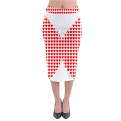 Hearts Butterfly Red Valentine Love Midi Pencil Skirt by Alisyart