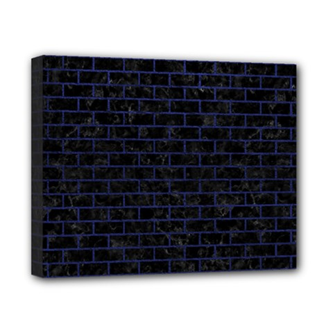Brick1 Black Marble & Blue Leather Canvas 10  X 8  (stretched) by trendistuff