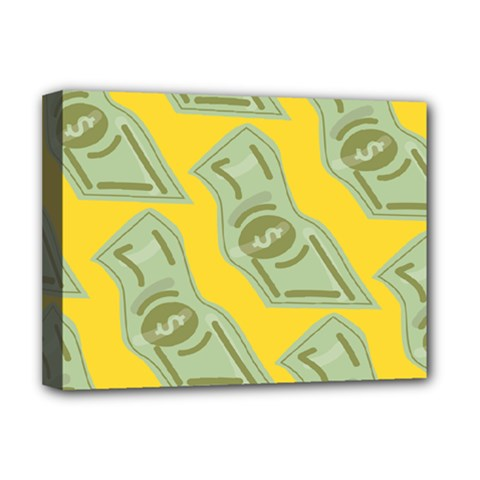 Money Dollar $ Sign Green Yellow Deluxe Canvas 16  X 12   by Alisyart