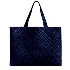 Woven2 Black Marble & Blue Stone (r) Zipper Mini Tote Bag by trendistuff