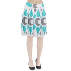 Moon Water Star Grey Blue Pleated Skirt by Alisyart