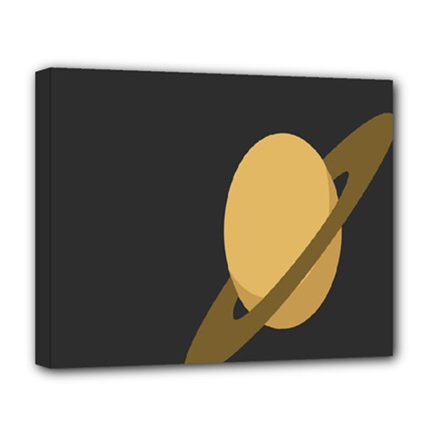 Saturn Ring Planet Space Orange Deluxe Canvas 20  X 16   by Alisyart