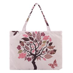 Tree Butterfly Insect Leaf Pink Medium Tote Bag by Alisyart