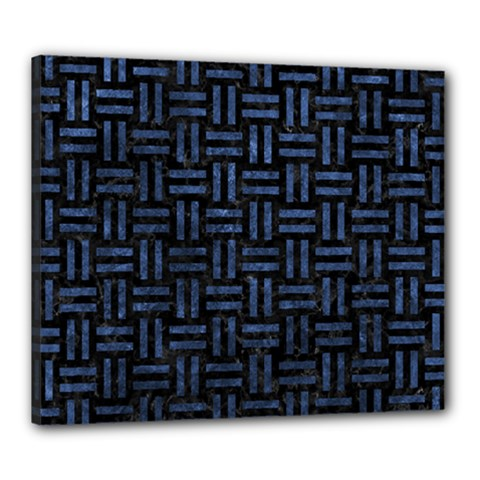 Woven1 Black Marble & Blue Stone Canvas 24  X 20  (stretched) by trendistuff