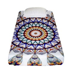 Circle Star Rainbow Color Blue Gold Prismatic Mandala Line Art Fitted Sheet (single Size) by Alisyart