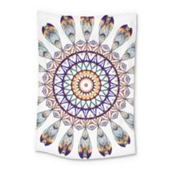 Circle Star Rainbow Color Blue Gold Prismatic Mandala Line Art Small Tapestry by Alisyart